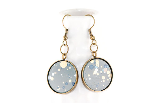 Round Splatter Painted Dangle Earring - Storm Cloud