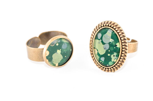 Splatter Painted Ring -  Emerald Isle (Choose Your Setting)