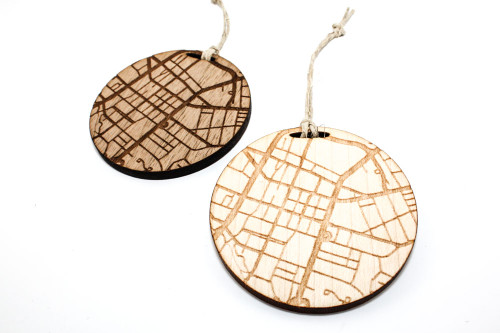 Wood Christmas Ornament: Map of Greenville, South Carolina