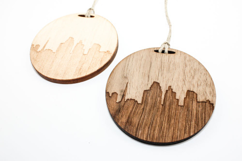Wood Christmas Ornament: Skyline of Greenville, South Carolina