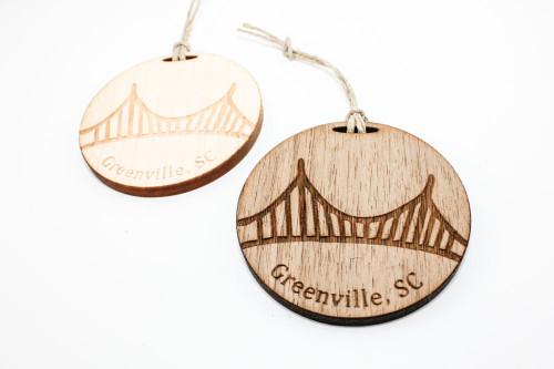 Wood Christmas Ornament: Liberty Bridge in Greenville, South Carolina