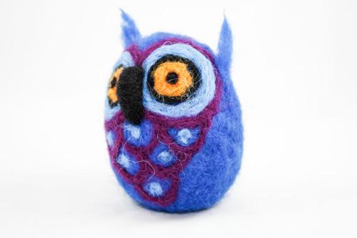 Needle Felted Owl (Blue & Purple)