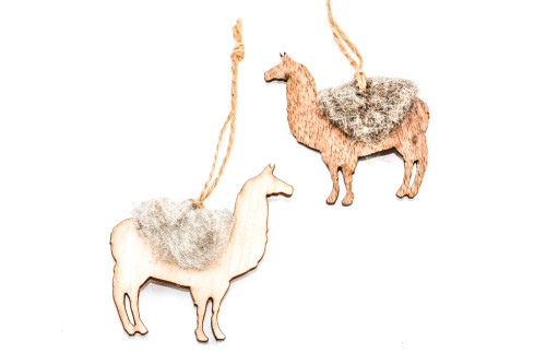 Llama Christmas Ornament: Laser Cut Wood with Needle Felted Wool (Choose Your Color)
