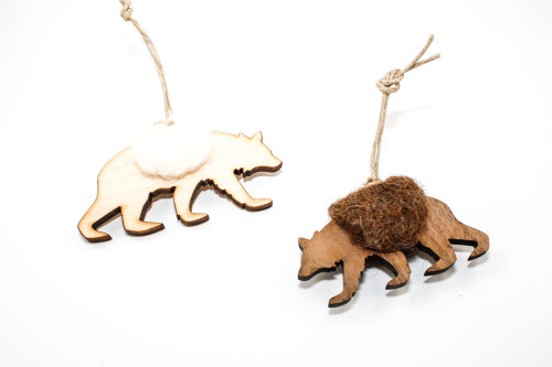 Bear Christmas Ornament: Laser Cut Wood with Needle Felted Wool (Choose Your Color)