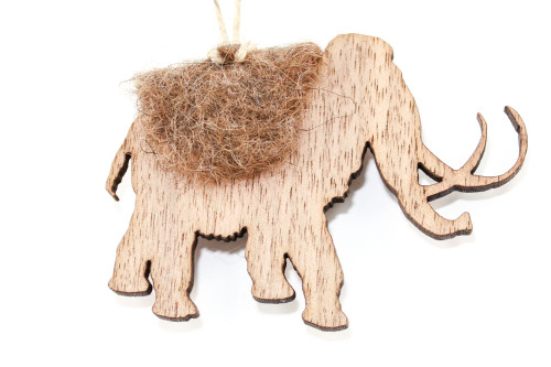 Woolly Mammoth  Christmas Ornament: Laser Cut Wood with Needle Felted Wool