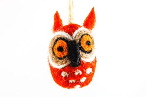 Felted Owl Christmas Ornament (Orange & Tan)