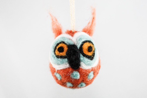 Felted Owl Christmas Ornament (Tangerine & Aqua)
