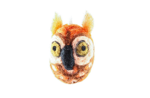 Felted Owl Christmas Ornament (Sienna & Tan)