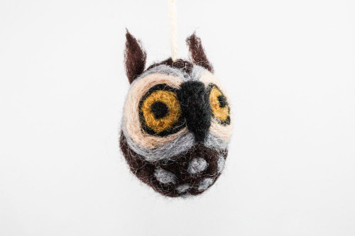 Felted Owl Christmas Ornament (Dark Brown & Tan)