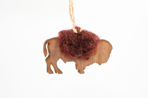 Buffalo  Christmas Ornament: Laser Cut Wood with Needle Felted Wool