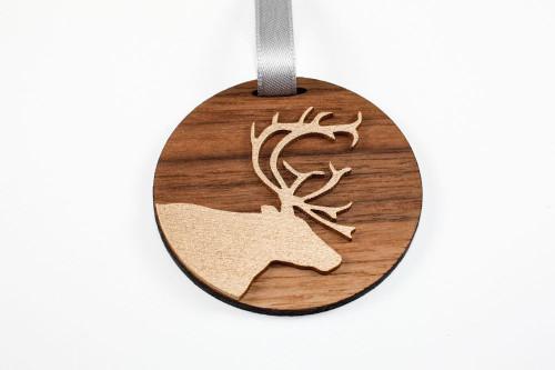 Deer Christmas Ornament: Laser Cut Wood  (Walnut & Metallic Gold)