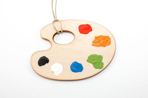 Artist's Palette Christmas Ornament: Laser Cut Wood