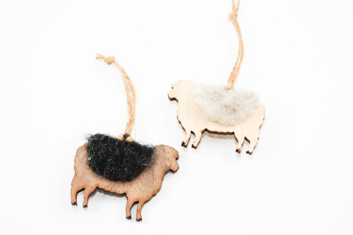 Sheep Christmas Ornament: Laser Cut Wood with Needle Felted Wool (Choose Light or Dark)
