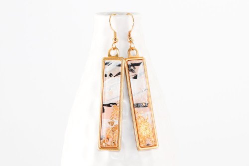 Abstract Paint & Gold Leaf Dangle Earrings - Pale Pink