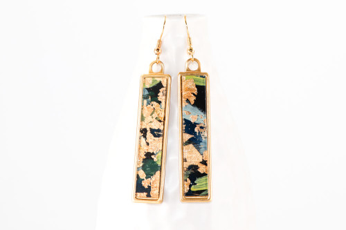 Long Abstract Paint & Gold Leaf Dangle Earrings - Navy Blue