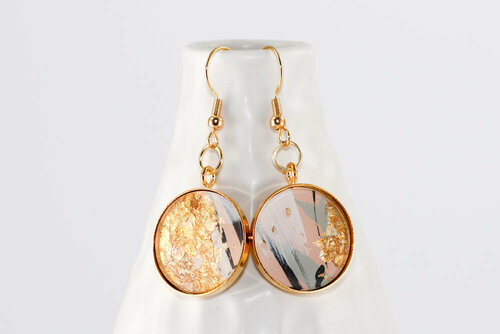 Round Abstract Paint & Gold Leaf Dangle Earrings - Pale Pink