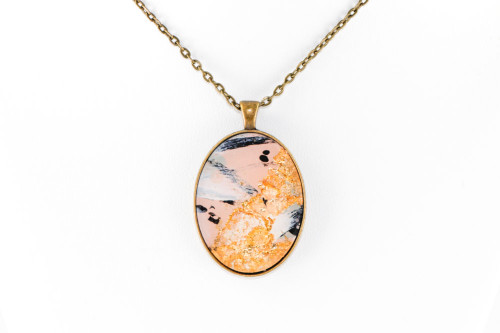 Abstract Paint & Gold Leaf Pendant - Pale Pink