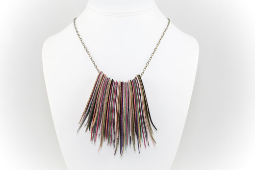 Multi-colored Suede Fringe Statement Necklace