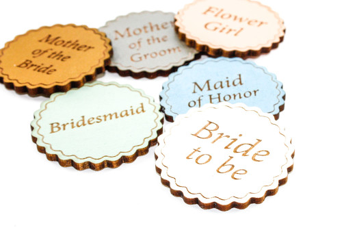 Custom Wood Name Tags - Hand painted Laser Etched (Your Custom Text)