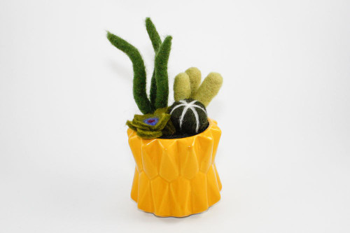Needle Felted Cactus Garden in Geometric Planter (Bright Yellow)