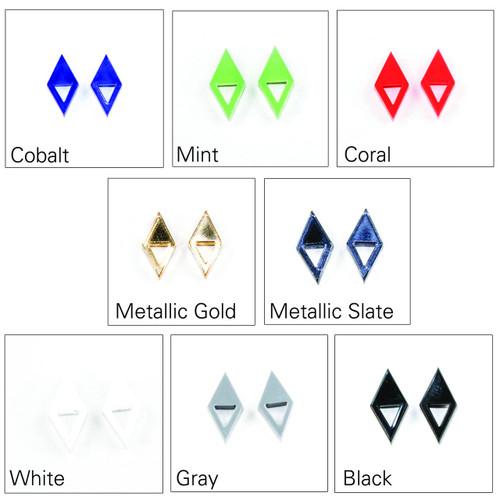 Acrylic Post Earrings - Geometric Double Triangle Design