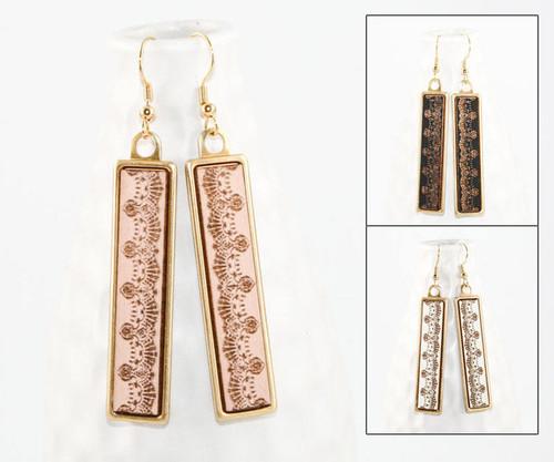 Geo Dangle Earring - Traditional Lace Pattern