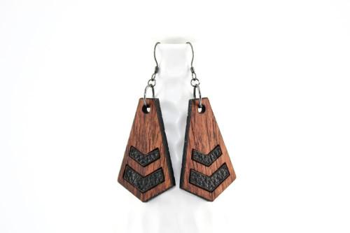 Wood & Leather Dangle Earrings: Chevron