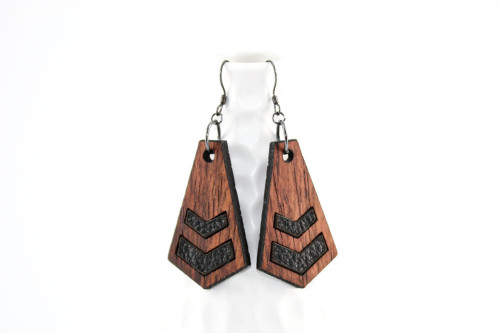 Wood & Leather Dangle Earrings: Chevron