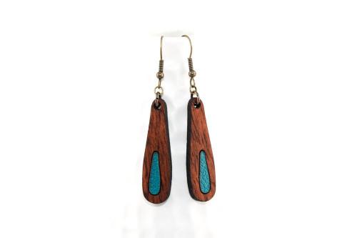 Wood & Leather Dangle Earrings: Elongated Teardrop