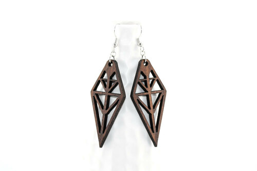 Laser Cut Wood Dangle Earrings: Tribal Design