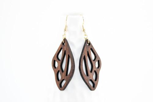 Laser Cut Wood Dangle Earrings: Butterfly Design