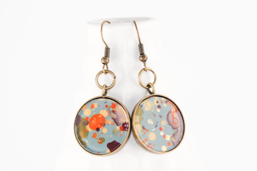Round Splatter Painted Dangle Earring - Autumn Leaves