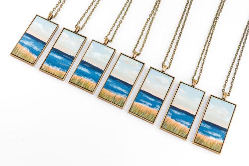 Landscape Painting Pendant - Sand Dunes on the Beach