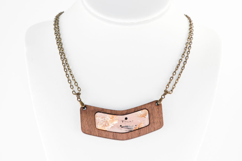 Modern Abstract Necklace - Walnut Wood with Pale Pink Gold Leaf Painting on Acrylic