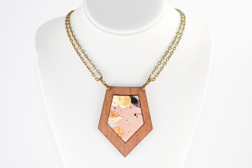 Modern Abstract Statement Necklace - Walnut Wood with Pale Pink Gold Leaf Painting on Acrylic