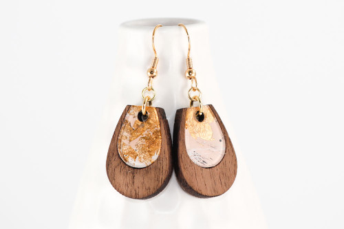 Modern Abstract Teardrop Dangle Earrings - Walnut Wood with Pale Pink Gold Leaf Painting on Acrylic