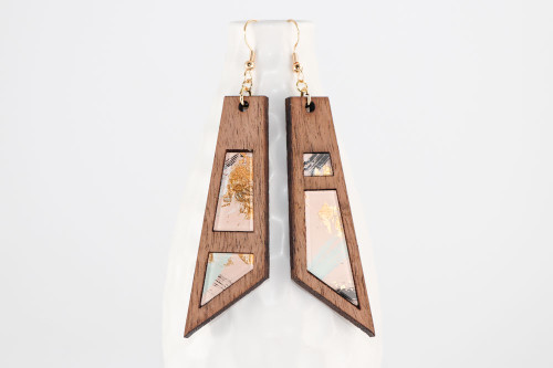 Modern Abstract Dangle Earrings - Asymmetrical Wood Earring with Pale Pink Gold Leaf Painting