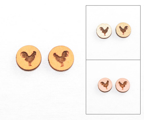 Cameo Post Earring - Rooster
