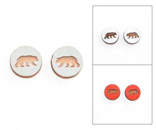 Cameo Post Earring - Bear
