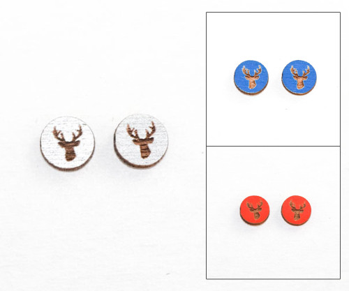 Cameo Post Earring - Deer Head