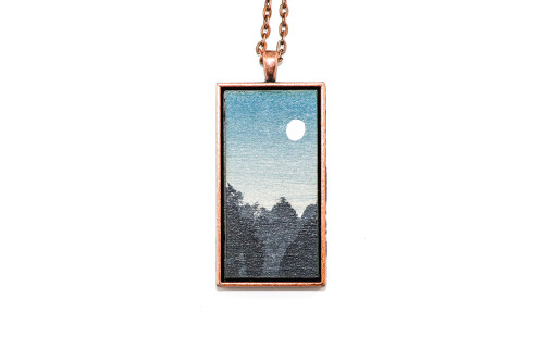 Landscape Painting Pendant - Full Moon at Dusk