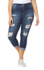 Plus Size Luscious Curvy Destructed Ankle Jeans In Shawna