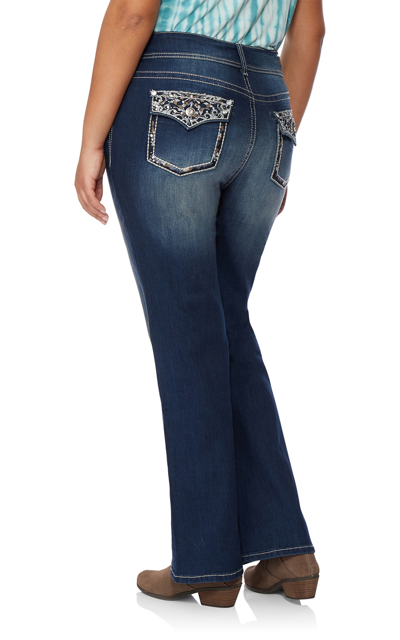 aac755b20301a Plus Size Luscious Curvy Bling Bootcut Jeans In Cecille - WallFlower ...