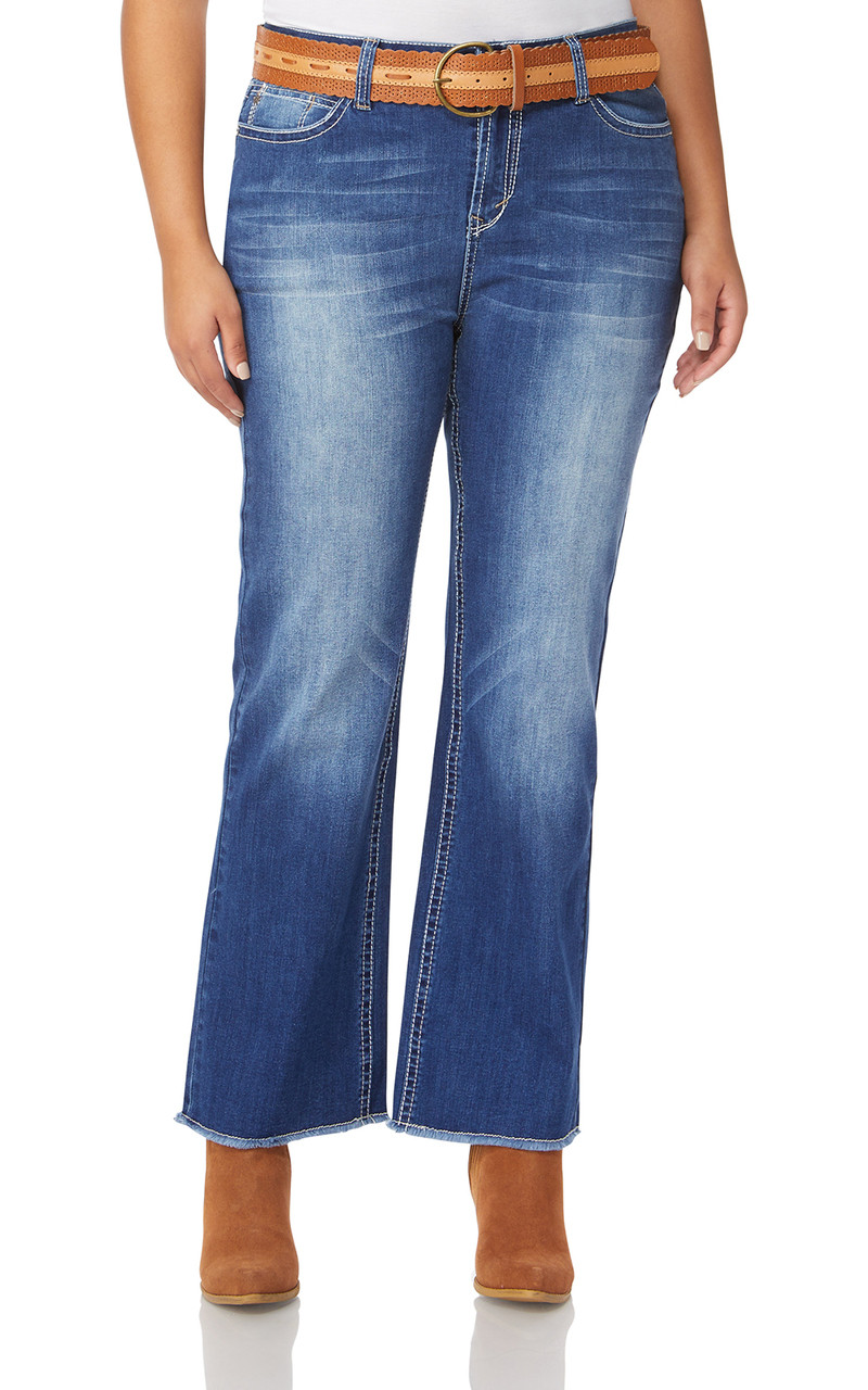 fd1df60ee6b Plus Size Legendary Belted Bootcut Jeans In Michelle - WallFlower Jeans
