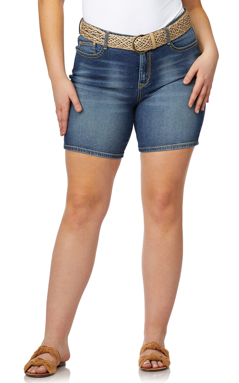 f4c4257a2e Plus Size Belted Legendary Midi Shorts In Magic - WallFlower Jeans