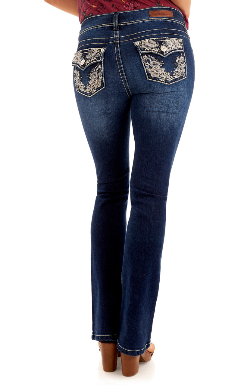 WallFlower Womens Instastretch Bling Luscious Curvy Bootcut Jeans