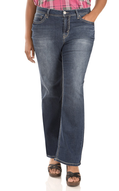 "Plus Basic Legendary Bootcut Jeans (30-32-34"") In Kristen"