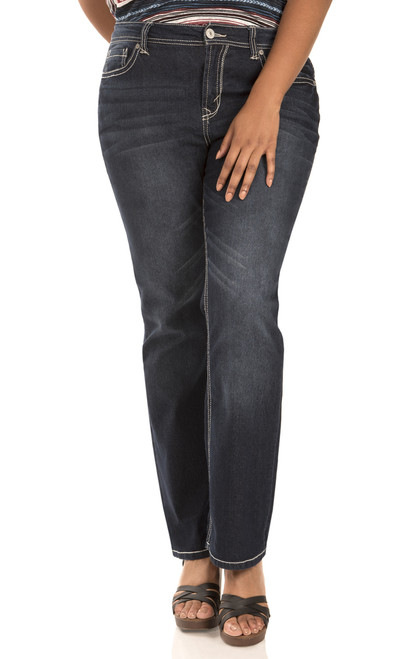 """Plus Basic Legendary Bootcut Jeans (30-32-34"""") In Britney"""