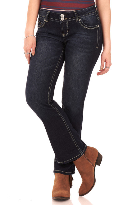 """Luscious Curvy Basic Bootcut Jeans (30-32"""") In Rinse Vintage"""