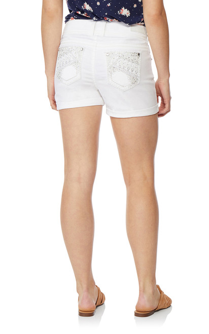 Luscious Curvy Bling Shorty Shorts In White